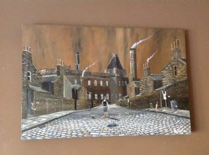 Northern Street Scene  original artwork on Deep  Box Canvas 75cm x 50cm
